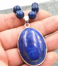 New 10mm Natural Egyptian Lapis Lazuli Gemstone pendant Necklace 18''