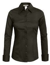 NE PEOPLE Women's 34 Color Basic Tailored Long Sleeve Button Down Shirt  -NEWT04