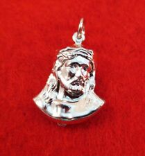 14KT WHITE GOLD EP  PUFFED JESUS HEAD CHARM- A-20