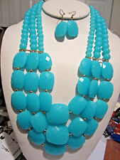 Three Layers Blue Turquoise Faceted Lucite Bead Necklace Earring Set