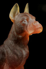 VINTAGE DAUM NANCY PATE DE VERRE CRYSTAL AMBER BOXER DOG QUALITY FRENCH GLASS