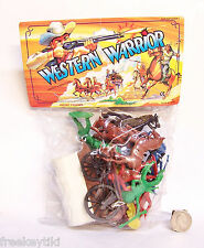 Western Cowboys and Indians Plastic Figure Figurine Playset Horses Wagon Diorama