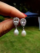 DESIGNER WEDDING EARRINGS STERLING SILVER PEARL DROP AND ZIRCONIUM STUD BRIDAL