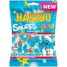 Haribo Gummy Sour Smurfs FOUR PACK 4oz Bags Strawberry Raspberry Flavored Gummis