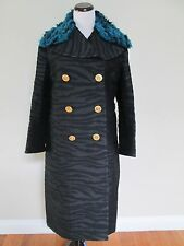 NWT Kenzo H&M Black Zebra Faux Fur Collar Long Wool Blend Coat Sz 12 SOLD OUT