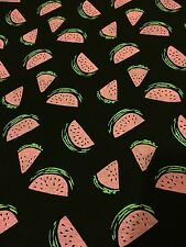 "Water Melon Printed Jersey Lycra Stretch Fabric 60"" Width Black/Pink"