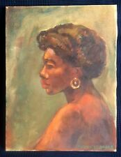 Young African American girl Portrait Oil painting Signed