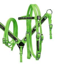 LIME Showman Nylon Pony size bling headstall and breast collar set! Horse Tack!