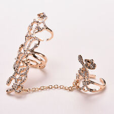 Fashion Jewelry Chain Link Rhinestone Ring Rose Flower Double Finger Rings  LD
