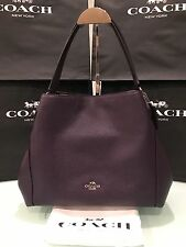 COACH Edie Shoulder Bag 31 in Refined Pebble Leather 36464 Silver/Aubergine