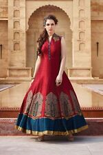 Dazzling red anarkali with blue detailing