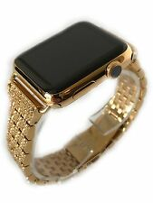 24K Gold 42MM Apple Watch 24K Gold Links Band with Diamond Rhinestone