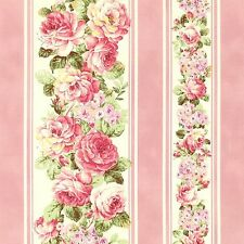 Ruru Bouquet Prima Ballet Light Pink Roses Pink Stripe Cotton Fabric Fat Quarter