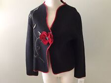 South Wool Pure Jacket Black Red Trim Coat Rose Flower Stem S Small