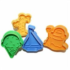 4 Ice Cream Palm Tree Yacht Beach Sand Cookie Cutters Fondant Cake Molds Plunger