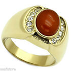 Red Oval Agate Gold EP Stainless Steel Crystal Stones Mens Ring
