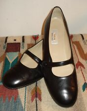 Women's TALBOTS Italian Black Leather Cute As A Button Mary Janes Size 10N MINT