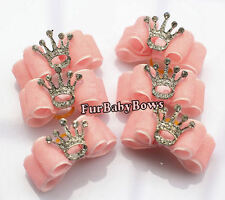 1 Pink Princess Crown Cute  girl Puppy Dog Yorkie Pet Bows Shih-tzu