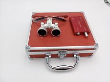 Dental Surgical 3.5X Binocular Loupes+1W LED Head Light Lamp+Aluminum Box Red