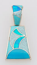 Navajo Handmade Sterling with Opal and Turquoise Inlay Pendant by Calvin Begay
