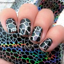 Sticker Holographique Papier Autocollant Motif Polygone Déco Ongles Nail Art