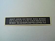 Detroit Red Wings 2007-08 Stanley Cup Nameplate For A Hockey Stick Case 1.5 X 8