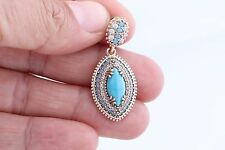 Special Turkish Jewelry Marquise Cut Turquoise Topaz 925 Sterling Silver Pendant