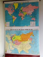 Cram's Pull Down Cloth School Map WW1 Nations at War, Roman Expansion 1613-1914