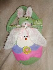Bunny Buttons & Bows Easter Purse Girls Green Hand Bag with stuffed plush Rabbit