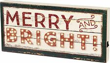 """NEW!~LED Wood Box Light Up Sign~""""MERRY AND BRIGHT"""" Christmas Picture~6 hr timer"""