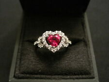 JWBR 925 Sterling Silver Red Heart with Diamonds Ring Size 6.25 New in Box