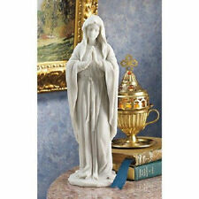 "Blessed Virgin Mary Statue Sculpture Christian Figure 12"" White RELIGIOUS DECOR"