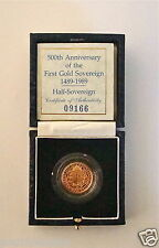 1989 ROYAL MINT TUDOR ROSE GOLD PROOF HALF SOVEREIGN COIN WITH BOX & COA