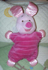 "Disney Pink Plush w/Satin Stuffed Piglet Baby Toy Doll 13"" EUC Crinkle Ears"