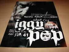 IGGY POP -  SUM 41 SKULL RING!!!!!!!!PUBLICITE / ADVERT