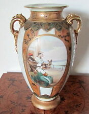 "HUGE 13"" NIPPON VASE ""DUTCH FAMILY AT SEA"" BEADS & GOLD M MARK X-Cond"