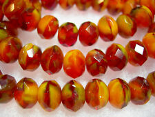 25 Fireside Red, Orange and Yellow Czech Glass Rondelle Beads 8x6mm