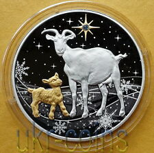 2015 Laos Chinese Lunar Year of the Goat 1 Oz Silver Proof Coin Gilded Gemstone