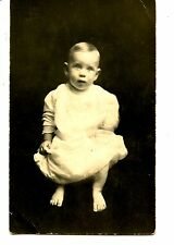 Cute Baby-Little Boy-No Shoes-Bare Feet-RPPC-Vintage Real Photo Postcard