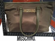 Moschino Shopper Shoulder Bag Mid Green Gold Hardware Leather + Nylon