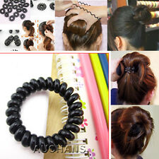 5 PCS Hair Ties Girls Rubber Telephone Wire Durable Black Elastic Extendable