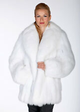 Real White Fox Fur Jacket Coat for Women - Shawl Collar