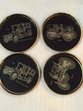 Old car model tin coasters small plates Set of 4 black and golden