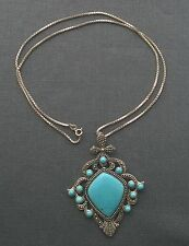 """Top quality 925 Sterling silver very long box chain & Turquoise huge pendant 24"""""""