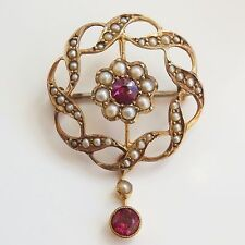 Antique Edwardian 9ct Gold Garnet & Seed Pearl Pendant / Brooch Necklace c1905