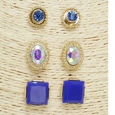 Gold Blue and AB 3 Piece FASHION Earring Set