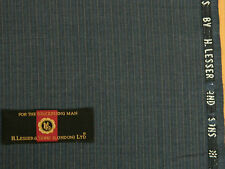 H.LESSER & SONS, VINTAGE BLUE SUITING WITH GREY & MID BLUE STRIPES, 2.95MTRS