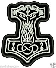 THOR'S HAMMER EMBROIDERED PATCH SYMBOL VIKING CELTIC NORDIC ODIN Metal Negro