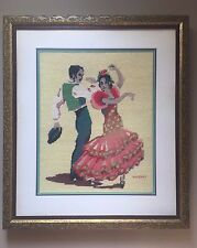 Vintage Retro Framed Hand Embroidered Art Spanish Flamenco Salsa Dancers