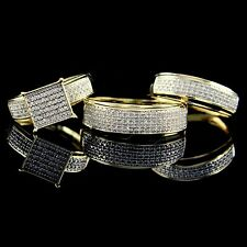 His Her Men Woman Diamond Wedding Ring Band Trio Bridal Set 10K Yellow Gold Over